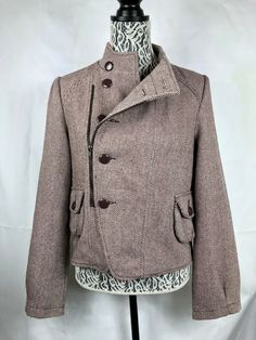 211c5c13f47a7f TULLE by ANTHROPOLOGIE Women Coat wool blend lined jacket size L Buttons  Zip 999 #Anthropologie