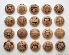 wood burned buttons