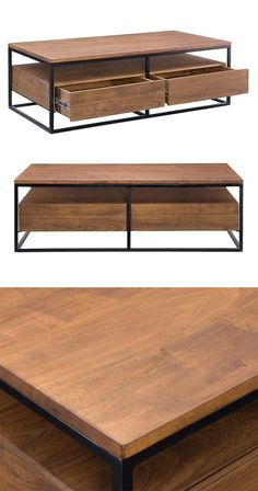 With a clean, contemporary design, this cocktail table is sure to anchor your modern living room. The Juneau Coffee Table boasts a beautifully finished solid acacia wood body with sleek iron framing. T... Find the Juneau Coffee Table, as seen in the Fresh Industrial Style Collection at http://dotandbo.com/collections/fresh-industrial-style?utm_source=pinterest&utm_medium=organic&db_sku=118101