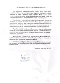 LETTER OF SUPPORT TO FIGHT AGAINST DAMS english