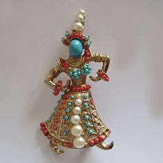 Vintage Marcel Boucher Turquoise/Coral/Pearl Thai/Siam Dancer Brooch..
