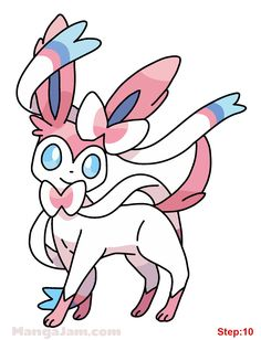 How to Draw Sylveon from Pokemon step 10