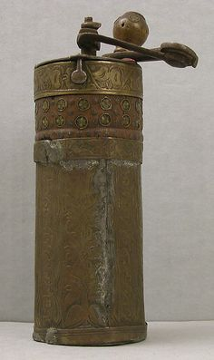 Coffee Mill 19th Century Egypt or Turkey Brass and Wood