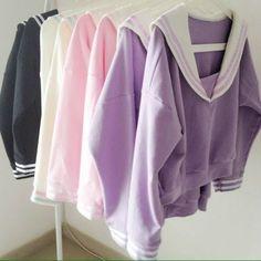 Japanese sailor collar warm kawaii sweaters via Shy Lolita. Click on the image to see more!