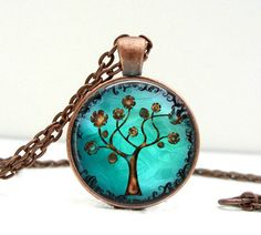 Copper Tree Necklace Glass Picture Pendant Photo Pendant. $14.00, via Etsy.