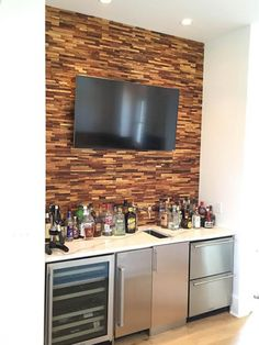 Stunning feature wall using Beyond Tile's Linear Teak Mosaic Tile Green Building, Industrial Furniture, Home Improvement Projects, Mosaic Tiles, Contemporary Design, Teak, Sustainability, Create, Wood