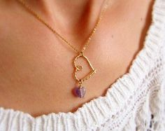 Amethyst necklace. February birthstone necklace. Amethyst pendant necklace. Gold heart necklace. Birthstone necklace.