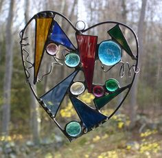 Heart suncatcher stained glass abstract by DesignsStainedGlass