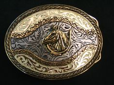 WESTERN HORSE HORSESHOE GOLDEN COWBOY RODEO BELT BUCKLE