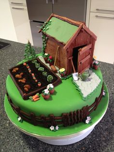 What a great shed and allotment cake! Big Cakes, Just Cakes, Fondant Cakes, Cupcake Cakes, Cupcakes, Allotment Cake, Housewarming Cake, 80 Birthday Cake, Dad Birthday
