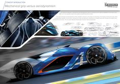 The Alpine A2030 is focused on balance between mechanical grip and active low drag aerodynamics.It features an Hybrid electrical/jet turbine powertrain. (as seen on the jaguar c-x75concept) as well as an inovative driver cockpit.