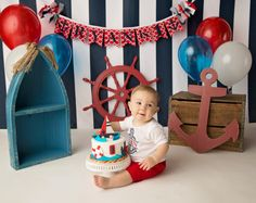 NAUTICAL SMASH CAKE Banner / First Birthday Banner / 1 Year Old Birthday Boy / Cake smash boy / Name banner for nursery / Anchor banner