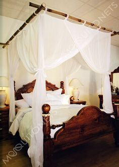 Deluxe cotton mosquito net bed canopy for King and California King size bed. Fully hemmed quality run proof weave cotton mosquito net. Mosquito Net Canopy, Bed Net, Four Poster Bed, Poster Beds, Master Bedroom, Bedroom Decor, Queen Size Bedding, California King, Bed Frame