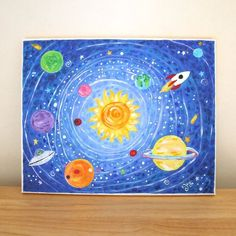 Art ideas: prints for kids solar system print kids room nursery. Solar System Painting, Solar System Art, Painting For Kids, Art For Kids, Space Painting, Science Room Decor, Petite Palette, Timmy Time, Rockets For Kids