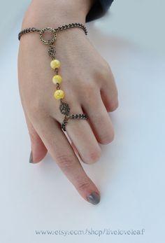 Beaded Slave bracelet Yellow Bead slave bracelet by LiveLoveLeaf, $16.00