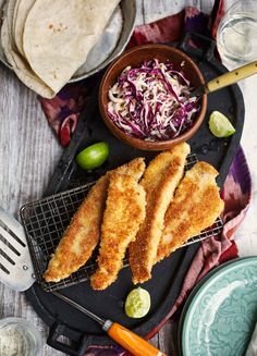 Catfish Tacos with Chipotle Slaw, from One Pan, Two Plates