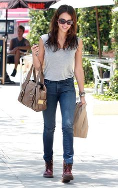 Jessica Alba wearing Escada Sport Bag Dr Martens 50th Year Anniversary Vintage 1460 Boots in Cherry Red Bvlgari BV 8055B Serpent Clasp Sunglasses in Violet 7 For All Mankind High Waisted Roxanne Jeans American Apparel Unisex Tri-Blend Tank