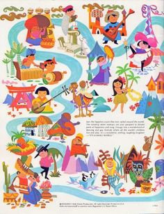 """Map of """"it's a small world"""" in a 1973 Disneyland Pictorial Souvenir Book 