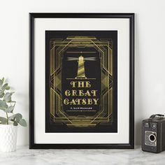 The Great Gatsby book cover print. Stylish wall art at A3, A4 or A5