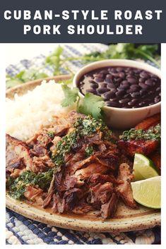Cuban-Style Roast Pork Shoulder With Mojo Recipe - The Best Cuban Recipes Cuban Pork Roast, Barbecue Pork Ribs, Cuban Mojo Marinated Pork, Bbq Grill, Pork Shoulder Recipes, Pork Shoulder Roast, Pork Shoulder Recipe In Oven, Cuban Dishes, Pork Dishes