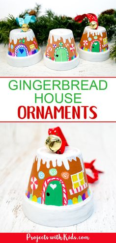 Transform mini terra cotta pots into the sweetest gingerbread house ornaments! Kids will love making this adorable Christmas craft to hang on the tree or give as a special gift. xmas crafts The Sweetest Gingerbread House Ornaments Kids Can Make Noel Christmas, Diy Christmas Ornaments, Gingerbread Ornaments, Christmas Gingerbread, Gingerbread Houses, Preschool Christmas, Christmas Cactus, Outdoor Christmas, Ornaments Ideas