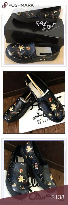 "🎉HP🎉Alice & Olivia Piper Leather Slip-Ons✨ ✨A dark floral print in the style of a brooding Dutch still life lends a certain mysterious edge to a leather slip-on sneaker that's perfect for adding subtle color to your fall wardrobe✨Removable insole✨Slip-on style with inset elastic goring✨Printed Lambskin Upper And Leather Lining✨Rubber Sole✨Leather upper and lining/rubber sole✨sole Height Is 3/4""✨These are Awesome Shoes and Are Sold Out Everywhere✨NEW With Original Box✨Size 9✨Retailed For…"