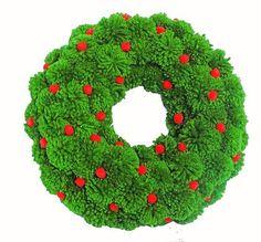 Green Christmas Wreath Holiday Wreath Pom Pom Wreath New Christmas Reef, Green Christmas, Christmas Crafts, Pom Pom Tree, Pom Pom Wreath, Pom Poms, Natural Christmas Tree, Colorful Christmas Tree, How To Make A Pom Pom