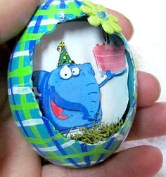 Egg, Chicken Egg, 3D, Easter, Ollie the Elephant Eggcettera- Real chicken egg with cute 3D Scene inside #bestofEtsy #design