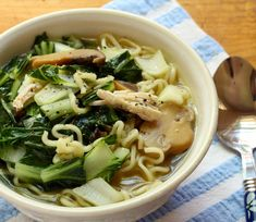Chinese chicken noodle soup, packed with lots of dark leafy greens for extra healing power.