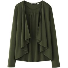 UNIQLO Women Uv Cut Long Sleeve Stole Cardigan ($9.90) ❤ liked on Polyvore featuring tops, cardigans, sweaters, jackets, outerwear, uniqlo cardigan, drape front top, drape front cardigan, long sleeve cardigan and open cardigan