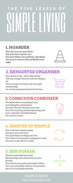 A fun infographic about the simple life. At what level are you? - Minimalism - FREE, CHEAP AND EASY Tips for Living a Minimalist Lifestyle !