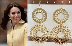 Kate Middleton Gold Filigree Circle Earrings- e730