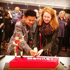 Aljin Abella Actor (Monkey) and Miranda Otto (TOI Ambassador) make the first cut in the Sweet Art Opening Night Celebration Cake on Friday night at Riverside Theatres. A fantastic night for everyone. Journey To The West, Opening Night, Theatres, Celebration Cakes, Behind The Scenes, Monkey, Friday, Actors, Celebrities
