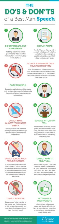 https://plyvinecatering.co.uk/the-dos-and-donts-of-a-best-man-speech/ In this infographic we look at the the dos and don'ts of a best man speech