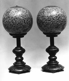 18th Century hat stands, Cloisonné enamel tops on wood bases