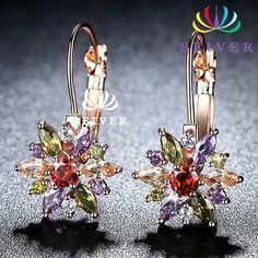 16867b8e97 Luxury Oval Cut AAAAA CZ Sunflower Wedding Earring Rose Gold color Engagement  Jewelry Jewelry Ladies Gifts