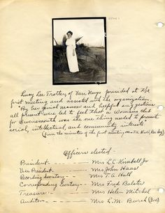 Lucy Lee Trotter and notes from the first meeting of the Owensmouth Women's Club. Trotter of Van Nuys presided over the first meeting, 1914. Canoga Park Women's Club Collection. San Fernando Valley History Digital Library.