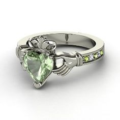 King Claddagh Ring, Heart Green Amethyst Sterling Silver Ring with Diamond <3 It!!!