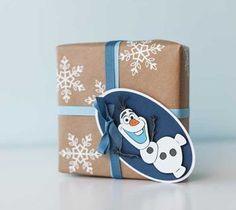 Snowflake Giftwrap and Olaf Tag