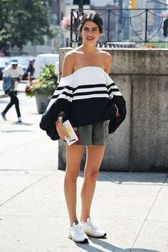 off the shoulder top street style leandra medine