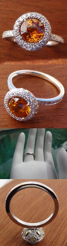 Other Engagement Rings 164308: Round Orange Sapphire/ Diamond Pave Halo Engagement Ring Solid 18K White Gold -> BUY IT NOW ONLY: $2000.0 on eBay!