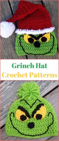 Crochet Christmas Santa Grinch Hat Paid Pattern - Crochet Christmas Hat Gifts Patterns