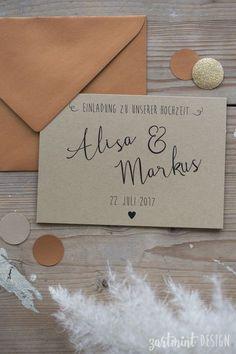 """Hochzeitspapeterie-Set""""Kraftpapier & Kupfer"""" Schwarzdruck auf 300g/m² Kraftpapier • Save-the-Date Karte als Postkarte mit Kalender oder Mini Kärtchen mit Konfetti-Tüte • Einladungs…"""