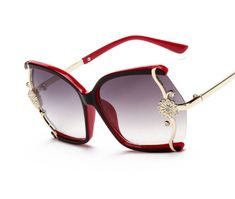 SA106 Womens Gold Floral Foliage Emblem Thick Plastic Butterfly Sunglasses