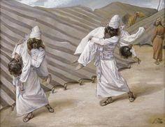 Phillip Medhurst presents 149/788 James Tissot Bible c 1899 The dead bodies carried away Leviticus 10:5 Jewish Museum New York. By a follower of (James) Jacques-Joseph Tissot, French, 1836-1902....
