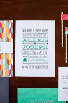 Colorful and Modern Hearts + Arrows Wedding Invitations, Design + Photo Credits: Renee Nicole Design