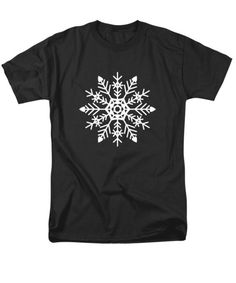 Tshirts - Snowflakes Black and White T-Shirt by Kathleen Wong