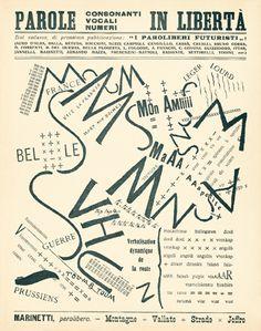 20 Fevereiro 1909, 1º Manifesto Futurista de Marinetti, no jornal francês ''Le Figaro''. Palavras em Liberdade - ''Les mots en Liberté''. Surge a poesia visual Futurista. Preocupação com a representação do som, dinamismo, energia, velocidade,