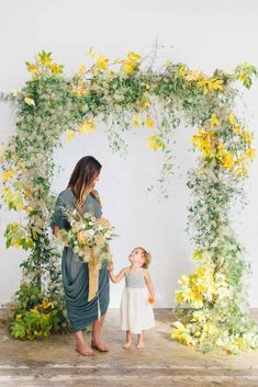 Photo Kate Osborne Autumn Floral Workshop wedding ceremony arbor arch of greenery and yellow leaves green and yellow floral bouquet autumn wedding lush organic natural arbor Wedding Ceremony Ideas, Fall Wedding Arches, Ceremony Arch, Autumn Wedding, Summer Wedding, Wedding Photos, Arc Floral, Floral Arch, Floral Wedding