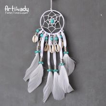 Artilady white feather big dream catcher vintage Indiana style feather design knit charm diameter 22cm+6cm*cm for women jewelry(China (Mainland))
